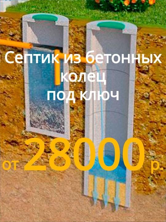 Септики из бетонных колей от 28000 руб.